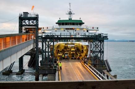Loading cars onto ferries. Seattle, WA